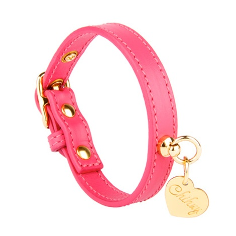 Pink and Gold Leather Collar