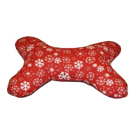 Dog Bone Pillow - Snowy Christmas