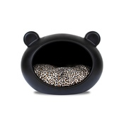 GuisaPet - Small Black Dog Cave with Animal Print Cushion