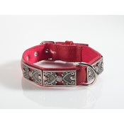 Kara Van Petrol - Fashion Dog Collar with Butterfly Detailing in Red