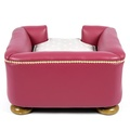 The Tetford Square Magenta Leather Dog Bed 5