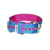El Perro - Candy Strip Collar - Fuchsia & Sky Blue