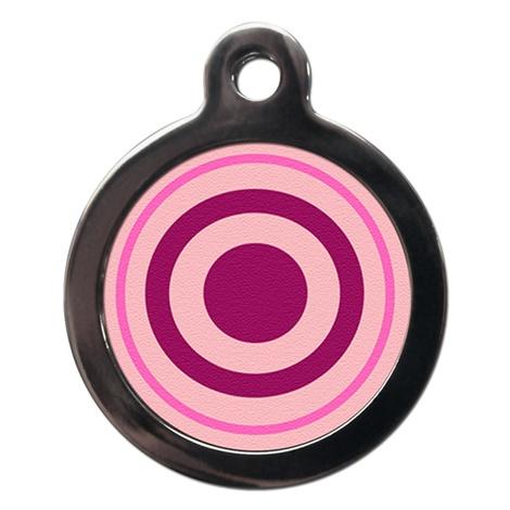 Pink Bulls Eye Pet ID Tag