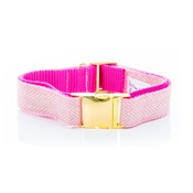 Pet Pooch Boutique - Pink Tweed Collar - On Gold