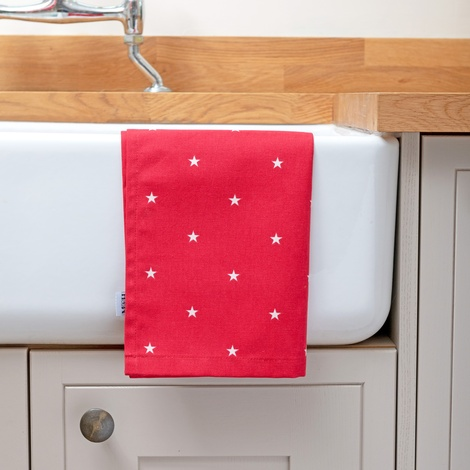 Cranberry Star Cotton Tea Towel  2