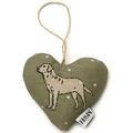 Dogs Linen Lavender Heart Green - Labrador
