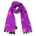Biddy Pug Scarf - Purple with Neon Pink Pugs 2