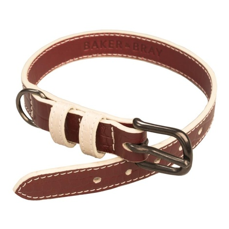 Paris Croc Leather Dog Collar – Burgundy & Stone