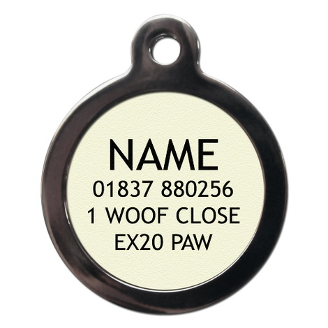 I'm Chipped Pink & Brown Stripes Pet ID Tag 2