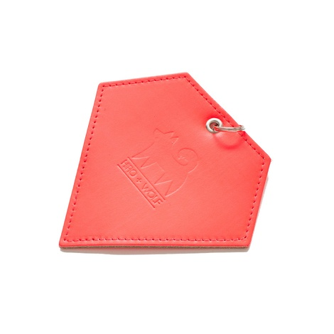 Leather Diamond Poo Bag Pouch - Neon Orange