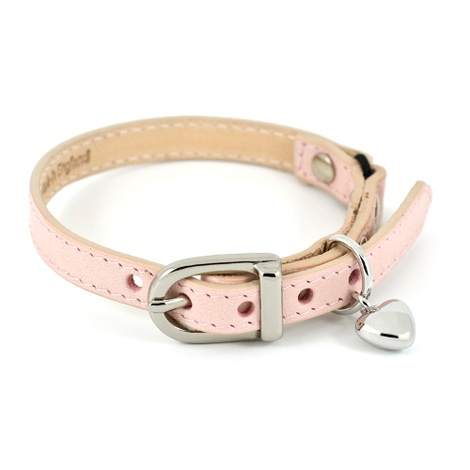 Baby Pink Leather Cat Collar with Heart Charm
