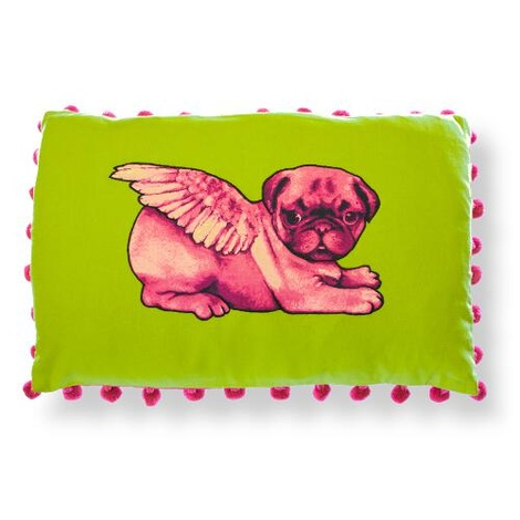 Biddy Pug Cushion Cover - Green with Neon Pink Pug