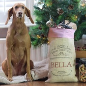 Handcrafted Christmas - Blitzen – Personalised Medium Christmas Sack with Red