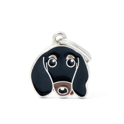 My Family - Dachshund Engraved ID Tag – Black