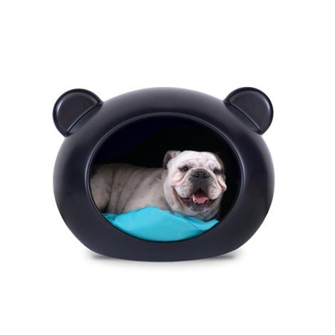 Medium Black Dog Cave with Blue Cushion