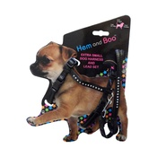Hem & Boo - Black Diamante Dog Harness & Lead Set