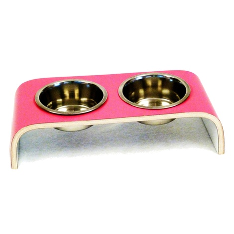 Pink & White Designer Pet Feeder 5