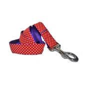 "Pet Pooch Boutique - Polka Dot Dog Lead - Red 1"" Width"
