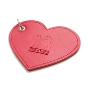 Hiro + Wolf - Leather Heart Poo Bag Pouch - Red