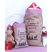 Handcrafted Christmas - Rudolph – Personalised Medium Christmas Sack with Red