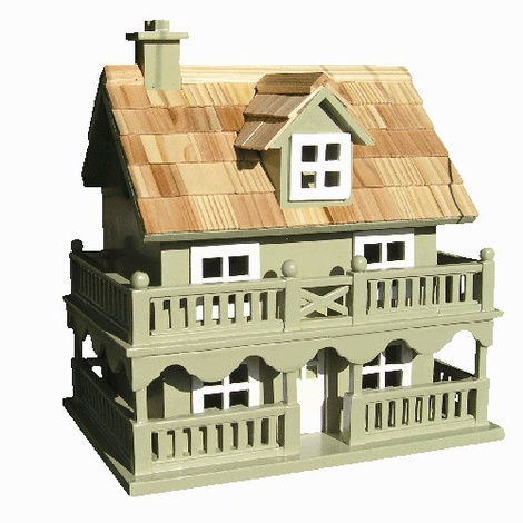 Novelty Cottage Birdhouse - Green 2