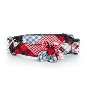 Pet Pooch Boutique - Patchwork Tartan Collar with Flower Accessory