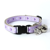Mog's Togs - Lilac Heart Print Safety Cat Collar