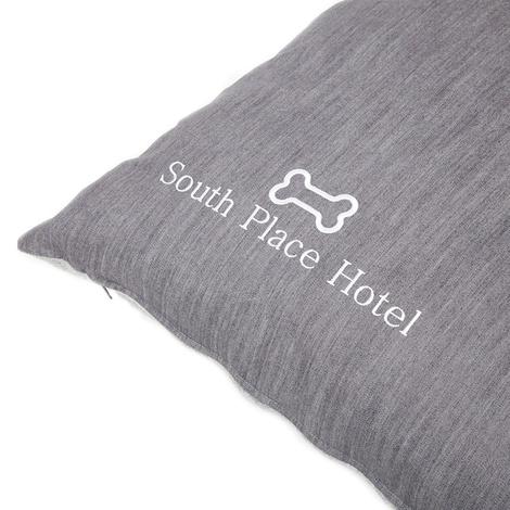 Personalised Grey Denim Dog Bed 4
