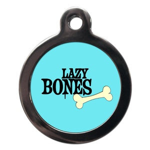 Blue Lazy Bones Dog ID Tag