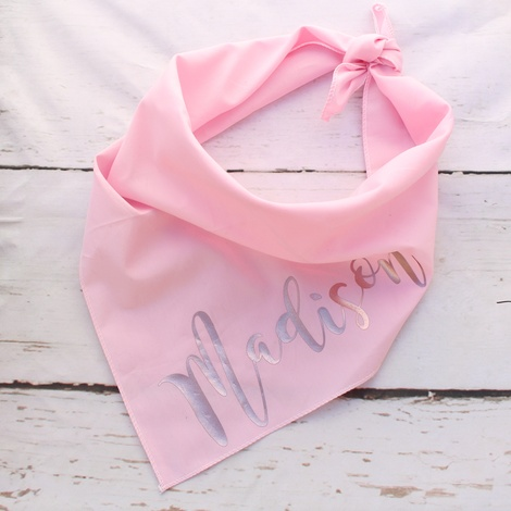 Personalised Rose Gold Pink Dog Bandana