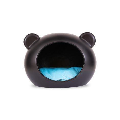 Medium Black Dog Cave with Blue Cushion 2