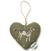 Mutts & Hounds - Dogs Linen Lavender Heart Green - Beagle