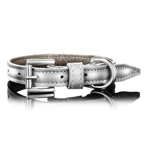 Metallic Silver Leather Dog Collar