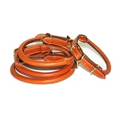 Pear Tannery - Rolled Leather Dog Collar - Tan