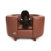 Sky Pet Products - Hampton Leather Pet Bed - Chestnut Beige