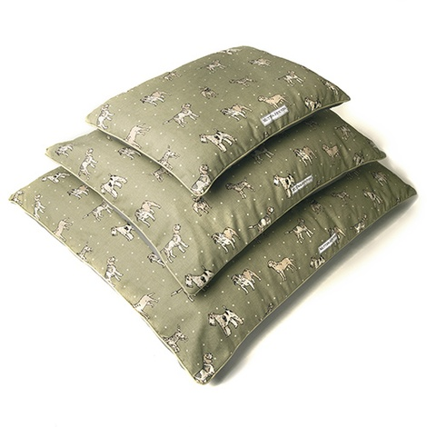 Dogs Linen Pillow Bed - Green