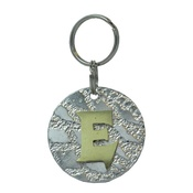 The Pet Jeweller - Alphabet Dog ID Tag - Plain brass on textured silver
