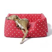 Charley Chau - Deeply Dishy Luxury Dog Bed - Dotty Red Raspberry