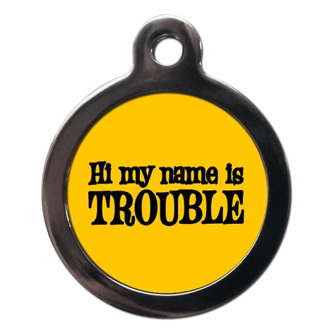 My Name Is Trouble Dog ID Tag