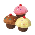 Vanilla Scented Cupcake Squeaky Dog Toy - Chocolate