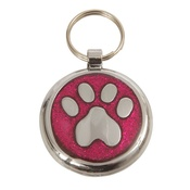 Tagiffany - Shimmer Deep Pink Paw Pet ID Tag