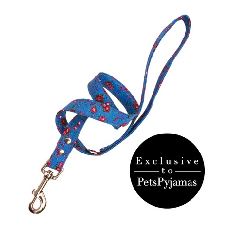 Blue Rose Print Fabric Dog Lead