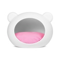 Medium White Dog Cave with Pink Cushion