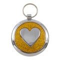 Shimmer Yellow Gold Heart Pet ID Tag