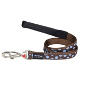 Red Dingo - Dog Lead - Blue Spots on Brown